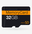 top view of micro sd memory card isolated on vector image