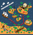 treasure island isometric composition vector image