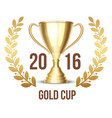 Trophy cup with laurel wreath 2016 vector image