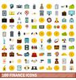 100 finance icons set flat style vector image