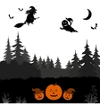 Halloween Landscape with Witch vector image