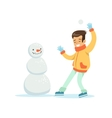 Boy Playing Snowballs Nest To Snowman Traditional vector image