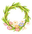A round border with colorful flowers vector image vector image