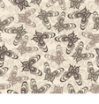 pattern with butterflies on a beige background vector image vector image