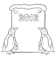 emperor penguins with poster 2012 contours vector image