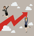 Business woman standing on a growing graph with vector image vector image