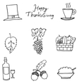 Thanksgiving flat hand draw fruit in doodle vector image