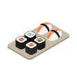 Japanese seafood sushi roll icon vector image