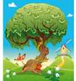 Landscape with fox behind the tree vector image