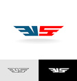 Letters VS stylized logo American flag colors vector image