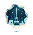 paper art of paris origami concept night city vector image