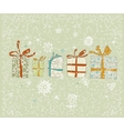 Vintage Christmas card with gifts and snowflakes vector image