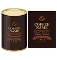 tin can with label of coffe beans vector image vector image