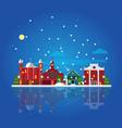 flat winter city landscape template vector image
