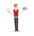 smiling male waiter character holding tray with vector image