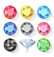 Long shadow flat style set of colored gems vector image