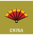 Chinese open folding fan in flat style vector image