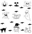 Halloween bat ghost in doodle vector image
