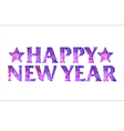 Happy new year mosaic text design with stars vector image
