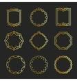 Outline golden emblems and badges frames vector image