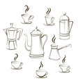 Coffee sketch collection vector image