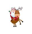 christmas santa claus riding reindeer cartoon vector image