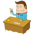 Happy receptionist vector image