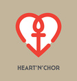 Nautical with heart and anchor - symbols of vector image