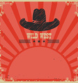 Wild west cowboy background red card vector image