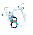 penguin with floral frame vector image vector image