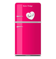 Pink retro fridge with paper note vector image