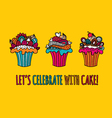 Cupcakes Hand Drawn Doodle Yellow vector image