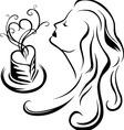Girl enjoying aroma of coffee vector image