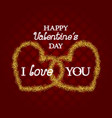 golden glittering symbol of two hearts with i vector image
