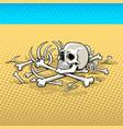 human skeleton in the desert pop art vector image
