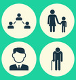 Person icons set collection of work man family vector image