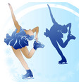 woman figure skating on blue background vector image