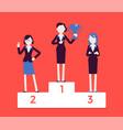 women put on pedestal of honor vector image