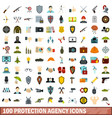 100 protection agency icons set flat style vector image