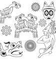Mayan ornanents with warrior small vector image vector image