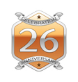 Twenty six years anniversary celebration silver vector image