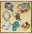 Fish set traps jaw and other image of piranha vector image