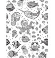 aquatic animals seamless pattern for children vector image