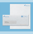 Mockup post envelope and letter paper template vector image