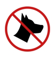 No Dogs allowed forbidden sign on white vector image