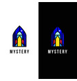 rocket in stained glass window symbol vector image
