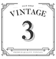 Font Numbers with Classy Stylish Frame vector image