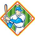 American Baseball Player Batting Diamond Cartoon vector image vector image
