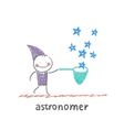 astronomer collects stars vector image vector image
