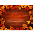 Grunge background with wooden planks autumn leaves vector image